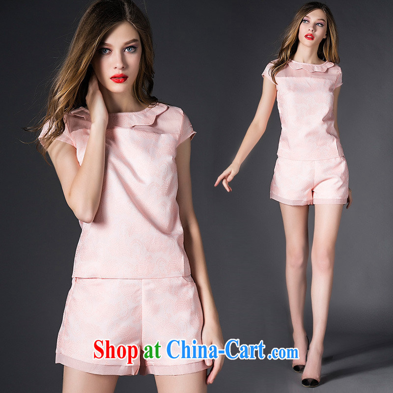 Hamilton's summer new European site female Big dolls for pink short-sleeved shirt T-shirt + shorts set female pink L