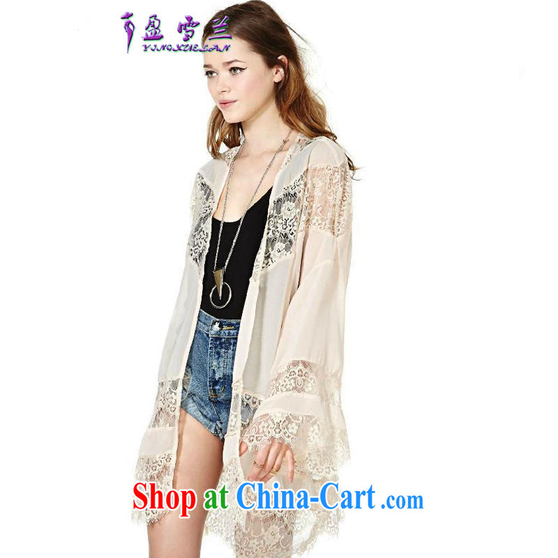 Surplus snow, in Europe and America 2015 big lace hook flower Openwork stitching snow woven jacket cardigan kimono shawl #3317 apricot M
