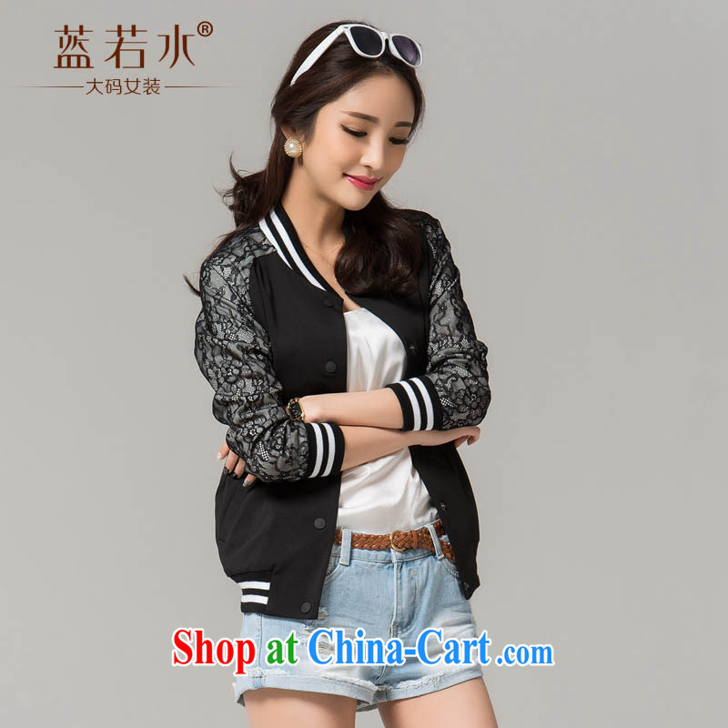 blue if the water increase, women 2015 spring new thick MM cardigan Korean stitching leisure baseball uniform jacket black large code XXXL