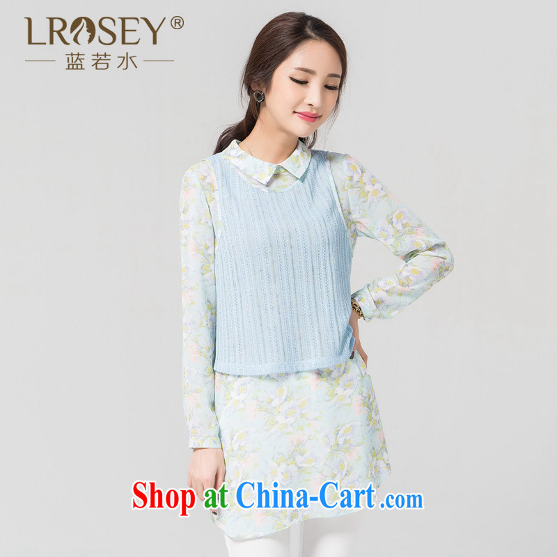 blue water the Code women spring new 2015 thick MM knitted vests woven snow stamp shirt two-piece Blue Sky (in stock) the code L