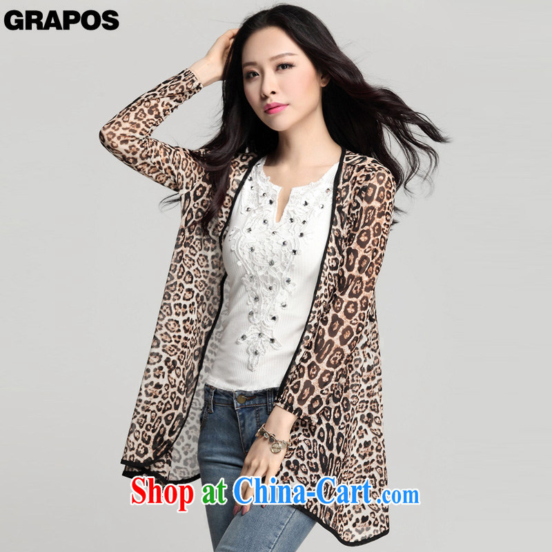 GRAPOS 2015 summer new, sunscreen and clothing long-sleeved, long, ground out a yarn cardigan, jacket shawl larger female DM 021 Leopard XXXL