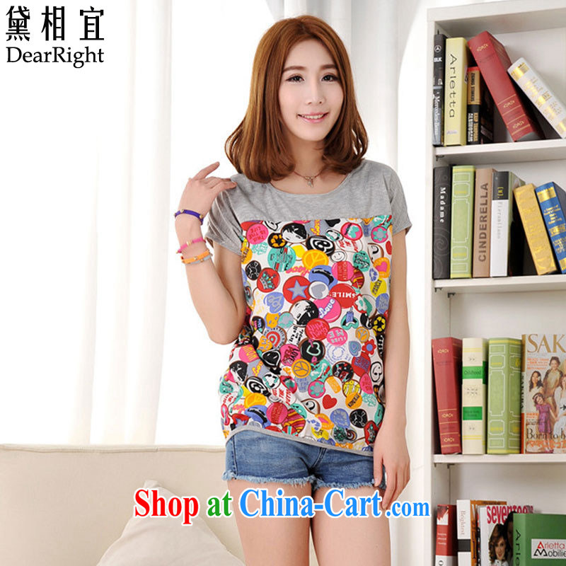 Diane affordable 200 Jack thick sister mm summer new short-sleeved shirt T Snow woven shirts and indeed increase, female liberal video thin T-shirt girl picture color 3XL _180 - 200 _ jack