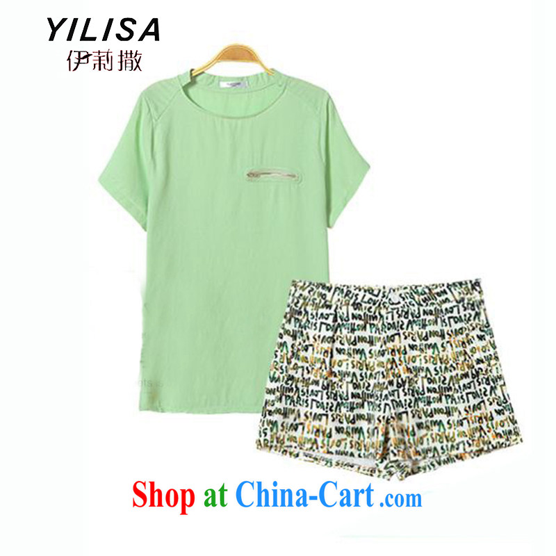 The YILISA indeed XL women mm thick summer new thick, graphics thin pure cotton T pension and take shorts cultivating graphics thin two-piece load K 604 light green plus shorts XXXL