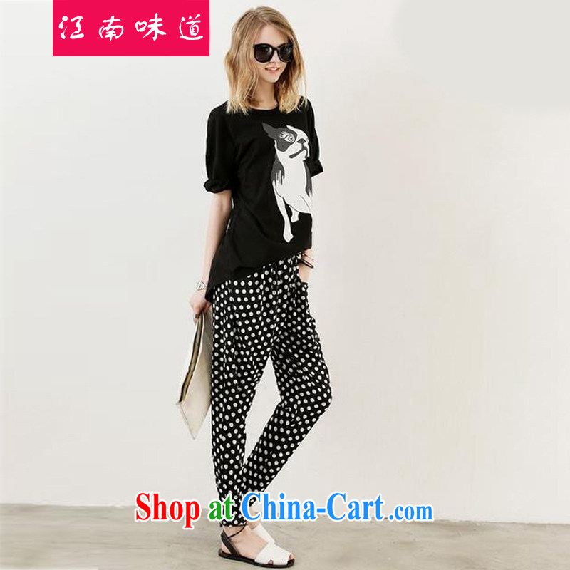 Gangnam taste thick girls with graphics thin, indeed the XL pants large Code women in Europe and pants loose trousers Kit castor pants 122 T-shirt + pants 5 XL