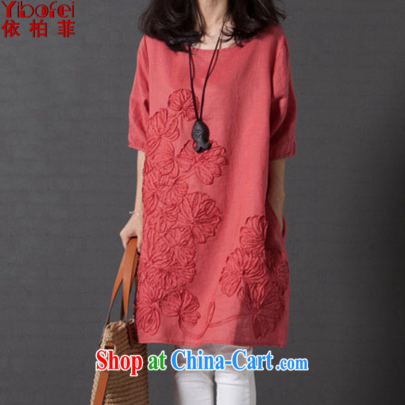According to perfect summer 2015 new thick mm literature, small fresh loose the code embroidered short sleeves cotton Ma dresses Y 2172 orange L