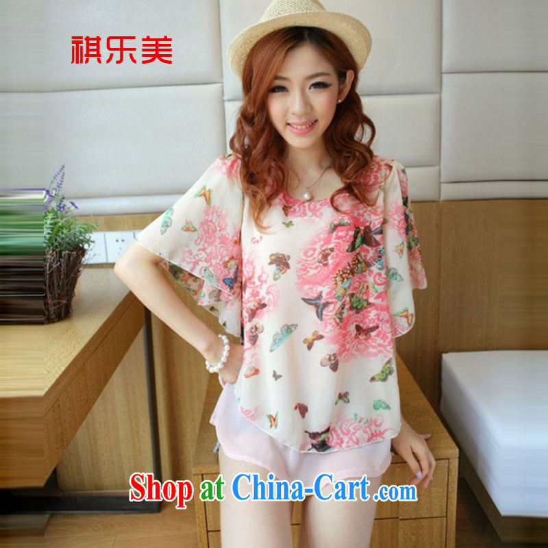 Sincerely, The 2015 Korean Beauty graphics thin ultra-sin two-piece bat sleeves butterfly Flower Snow woven shirts loose the code with T-shirt Y 8700 pink XXXL