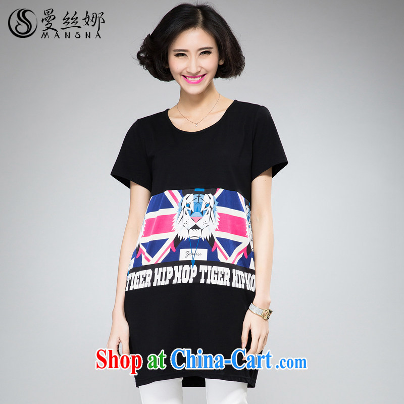 Cayman population of larger female thick mm summer 2015 new Korean version, long T-shirt T-shirt hit color stamp short-sleeved black 4XL