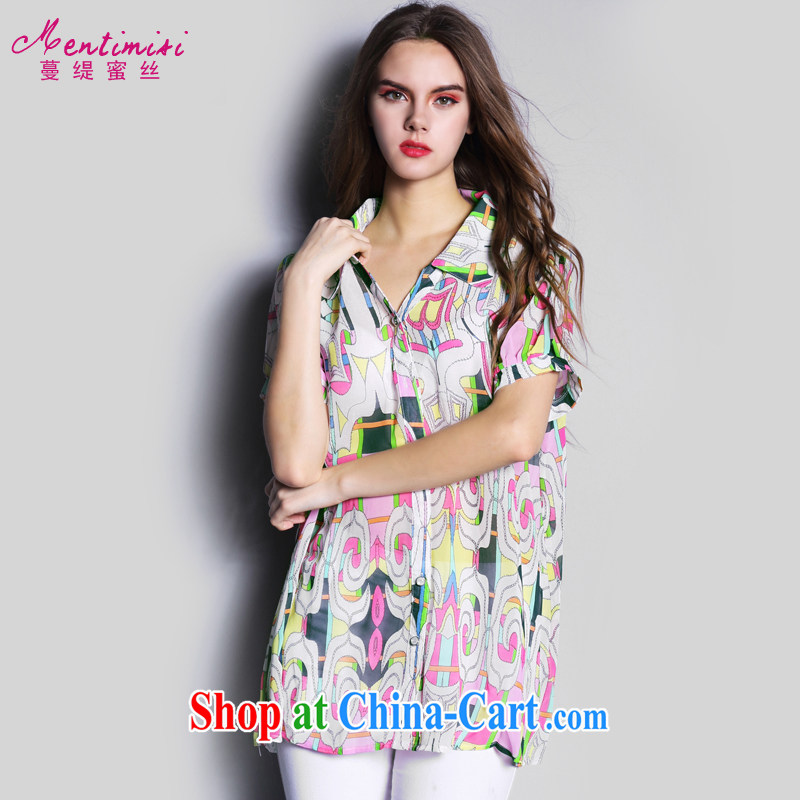 Mephidross economy honey, the European sites in Europe and the Code shirt 2015 summer new sweet lapel snow woven Ladies Blouses S 1680 photo color XXXL