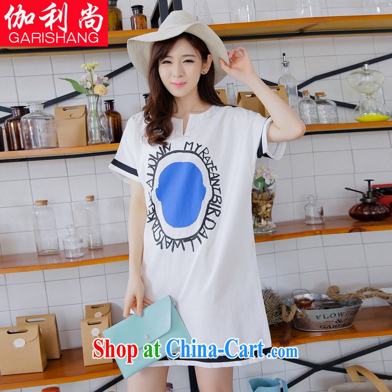 Vasco da Gama, there is 2015 new Korean Leisure Centers MM XL female loose cotton the stamp V collar short-sleeve maternity dress 8353 white XL