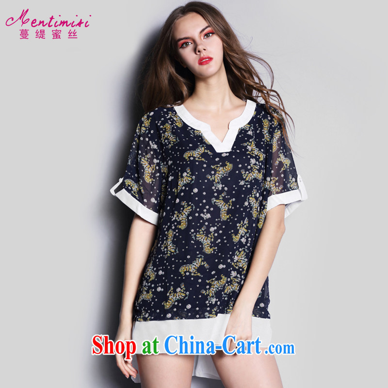 Mephidross has long honey, the European site the Code women summer New Products 1 animal short-sleeve snow woven shirts female long T pension S 1643 dark blue XXXL
