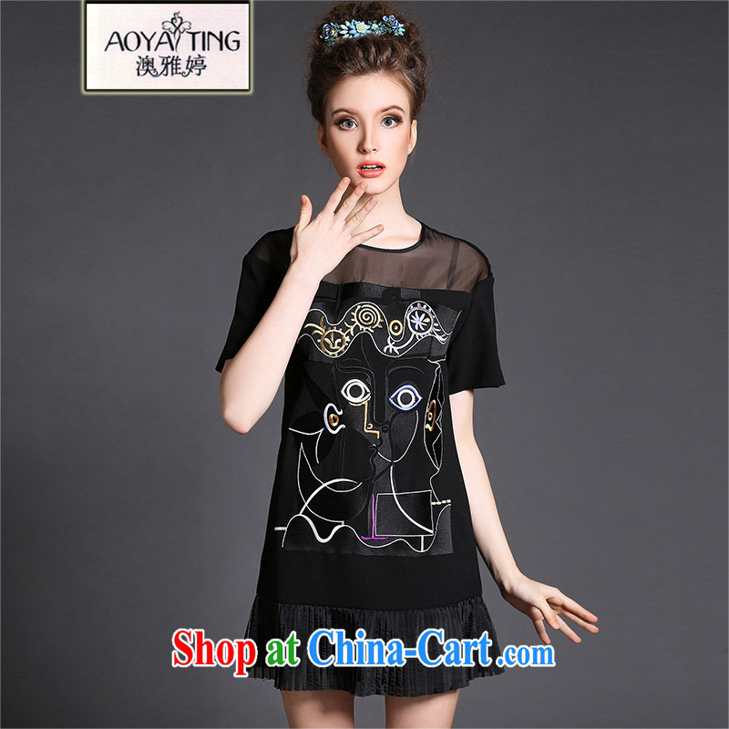 o Ya-ting 2015 spring and summer New, and indeed increase, female fat mm video thin short-sleeved solid dresses female small black black skirt 4 XL recommends that you 160 - 180 jack