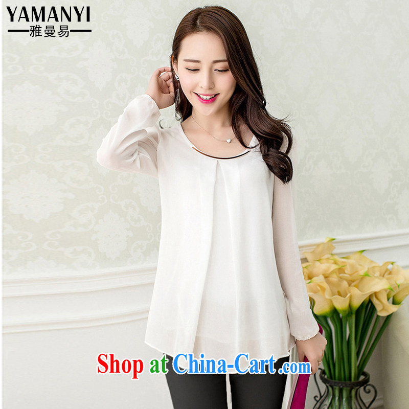 And Jacob Amman to 2015 spring and summer new women with large, snow-woven shirts fresh candy-colored long-sleeved snow woven T-shirt 007 white 4XL