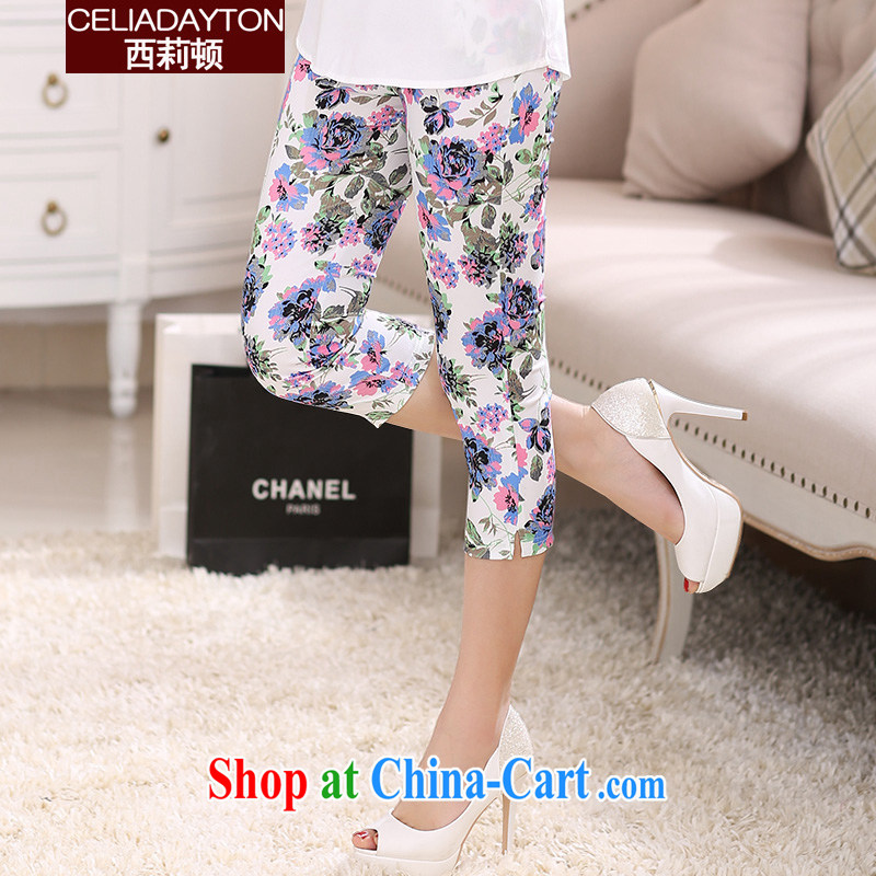 Szili Clinton's larger female 7 pants 2015 new thick mm summer new stretch video thin stamp 7 pants and indeed increase castor pencil pants girls pants solid summer of red 5 XL