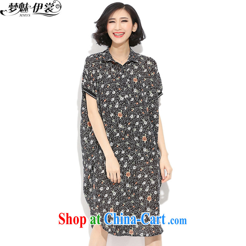 Director of the Advisory Committee 2015 spring and summer with new, and indeed increase, female fat mm long floral shirt short-sleeved snow woven double-yi skirt floral pattern loose all code brassieres tile 140