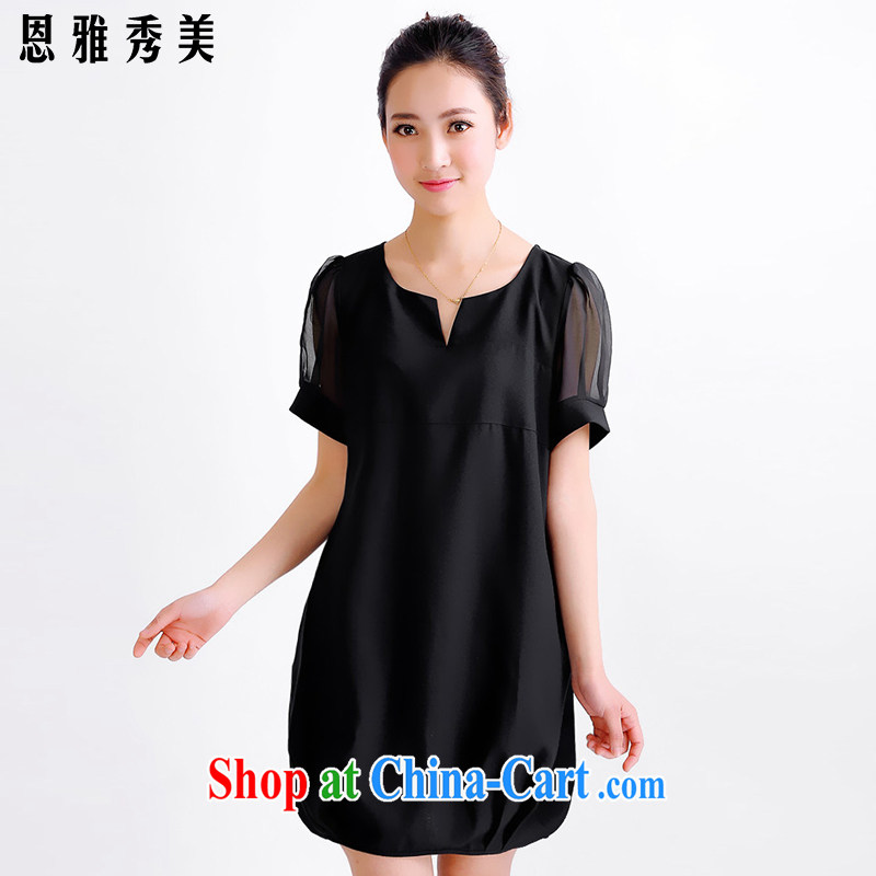 Jacob, Su-mi 2015 larger female thick MM Spring Summer dress girls won and indeed XL snow woven dresses 8013 _black XXXXL