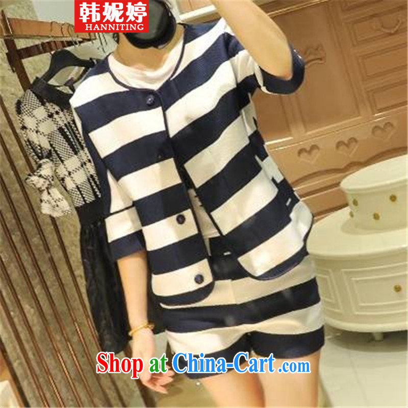 Han Ting Jenny spring 2015 Women's clothes for 100 striped leisure shorts small suit Korean jacket two-piece with transparent S