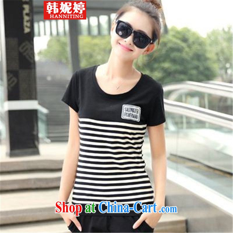 Han Ting her 2015 Korean version the code female leisure shorts Kit female beauty uniforms stripes two piece black XXL