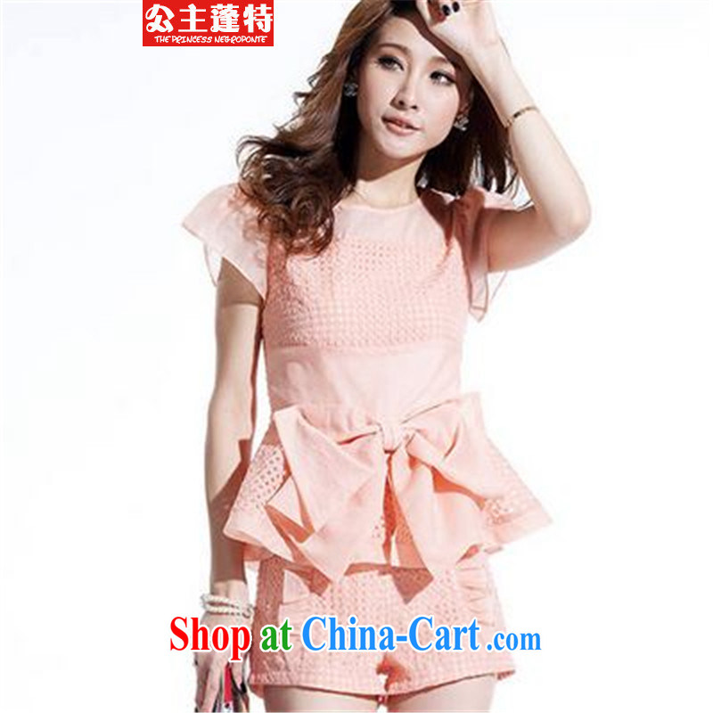 Princess Ponte 2015 snow woven lace T-shirt shorts and stylish lounge suite summer pink XXL