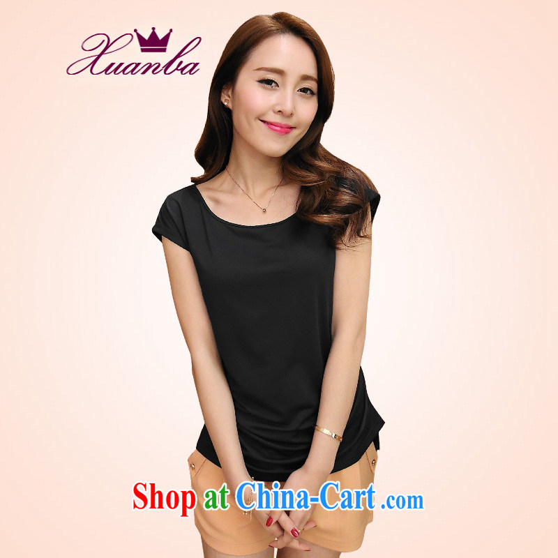 Cool Barbie ethnic 2015 new Korean Beauty round-collar T shirt short-sleeved, solid shirts summer is the XL loose milk, black 5 XL