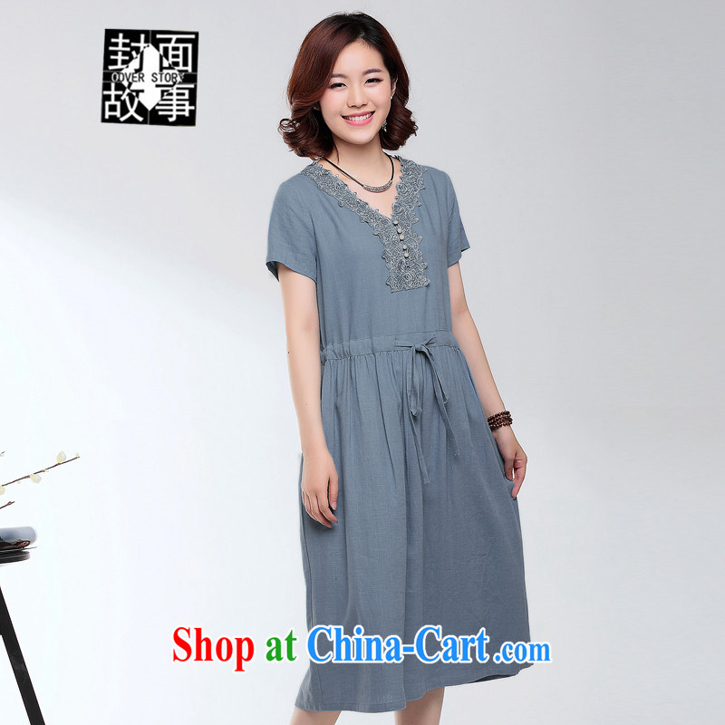 Cover Story 2015 spring and summer new large code mom with older linen dresses the waist is not singling out big and comfortable dresses denim blue XXXL