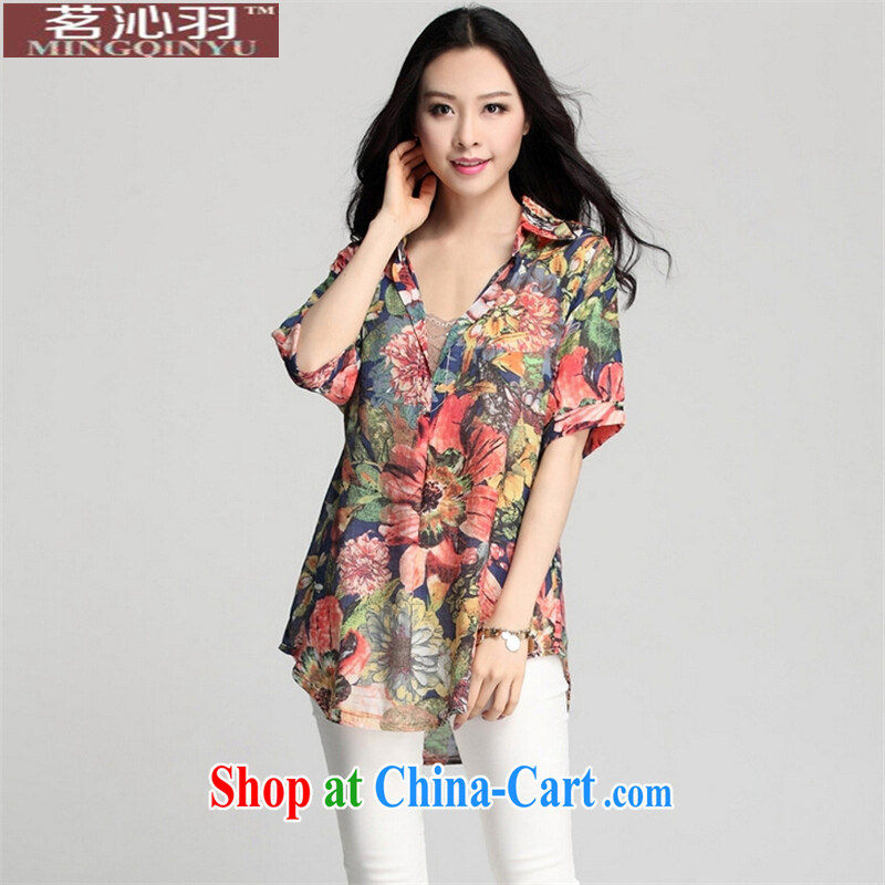 tea wafted Yu 2015 spring loaded women new larger V collar floral long, Korean loose shirt short-sleeved day silk shirt orange XXXL