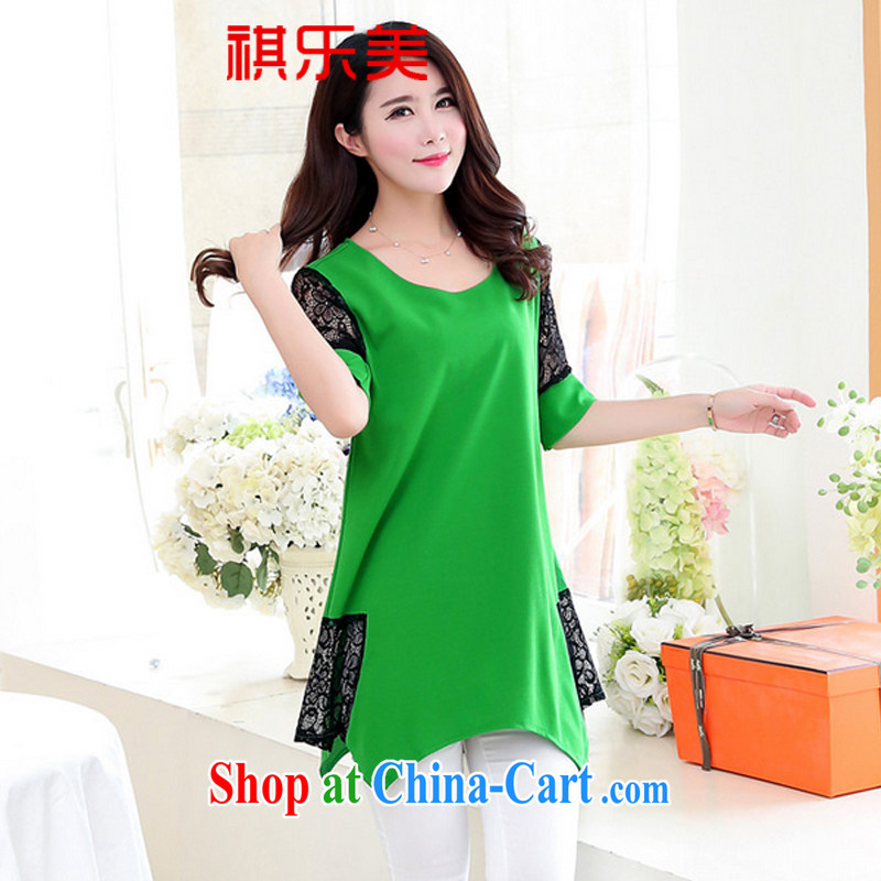 Sincerely, The 2015 summer new Korean version of the greater number, long, solid T-shirt T-shirt lace stitching solid skirt Y 2858 green XXXXL