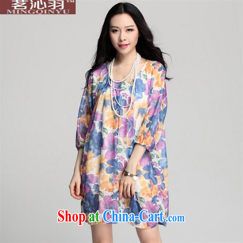 tea wafted Yu 2015 spring and summer with new women's clothing breathable large flower stamp Loose Cuff lanterns dresses 5 cuff the code long skirt blue XXXL