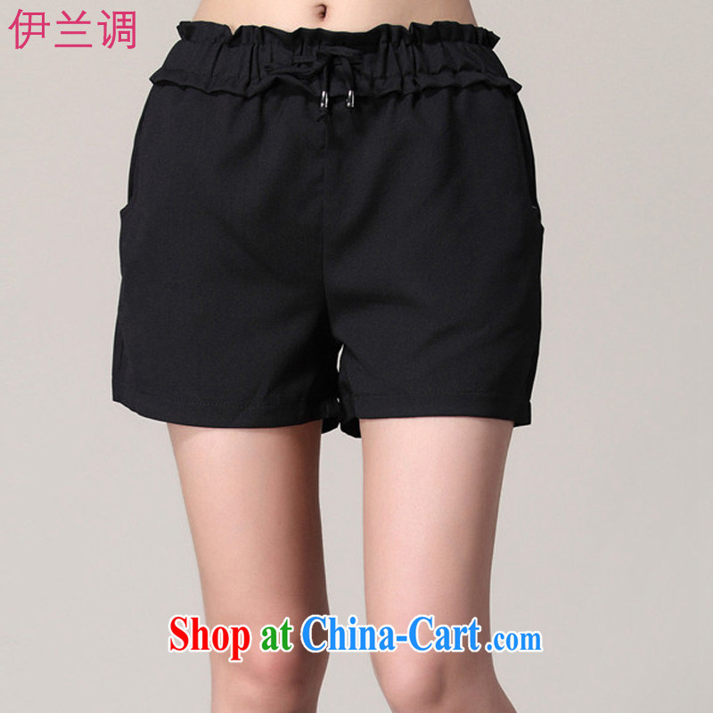 Iraq, the 2015 summer the summer, female thick mm thick sister Korean version of Yuan 100 ground shorts 926 black XXXXXL