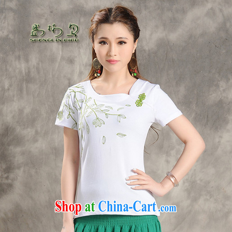 Summer new Ethnic Wind embroidered Tray Charge-back small V collar short-sleeved larger female T pension sung lim bird 2015 delivery package mail white XXXL