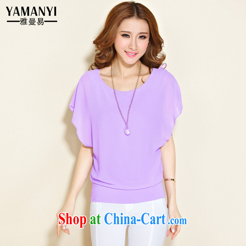 Jacob Amman to 2015 spring and summer new female snow woven shirts loose short-sleeved shirt T graphics thin shirt solid T-shirt 8828 purple XXXXL