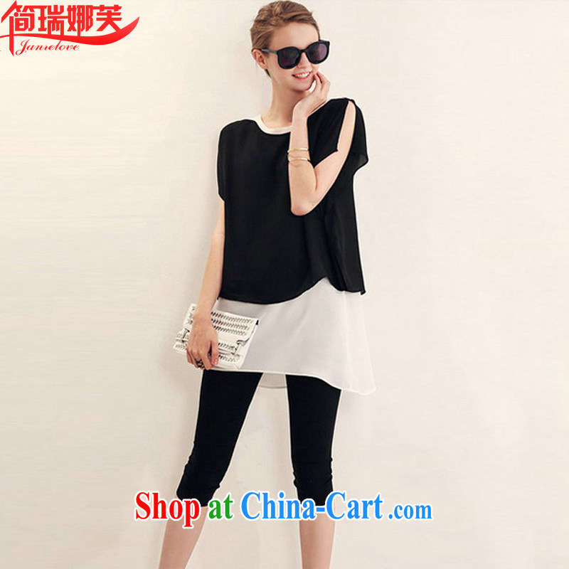 In short, the 2015 will be in Europe and America, the female summer new thick mm leave of two T-shirt solid pants and indeed Leisure package J 787 black 4XL