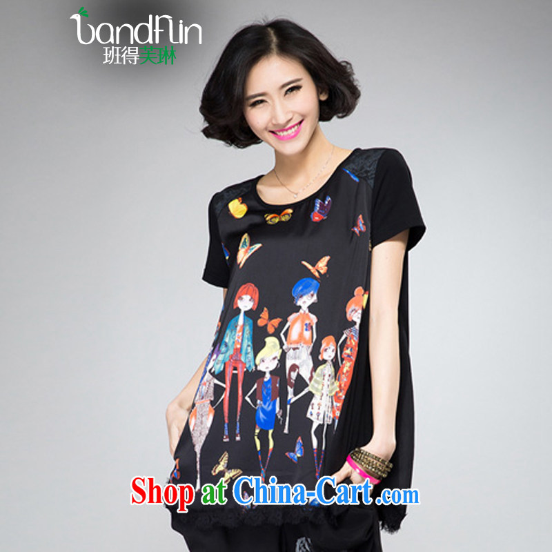Classes, Evelyn, 2015 spring and summer thick mm new, larger clothes and stylish digital stamp short sleeve shirt T loose video thin shirt B 2052 black XL