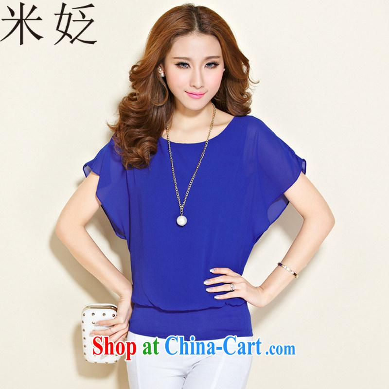 M ? 2015 summer on a new large code female liberal style bat short T Snow cuff woven shirts 2088 blue XXXL
