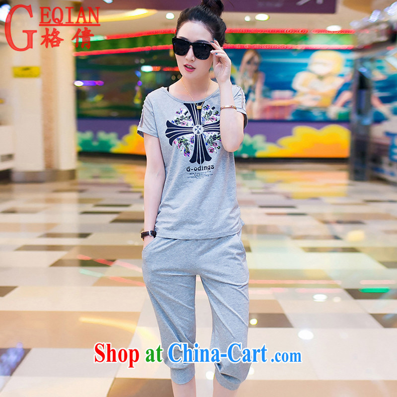 The MS 2015 summer new women with large, round-neck collar beauty stamp T pension female short-sleeve 7 pants sportswear girls K 0388 light gray XL