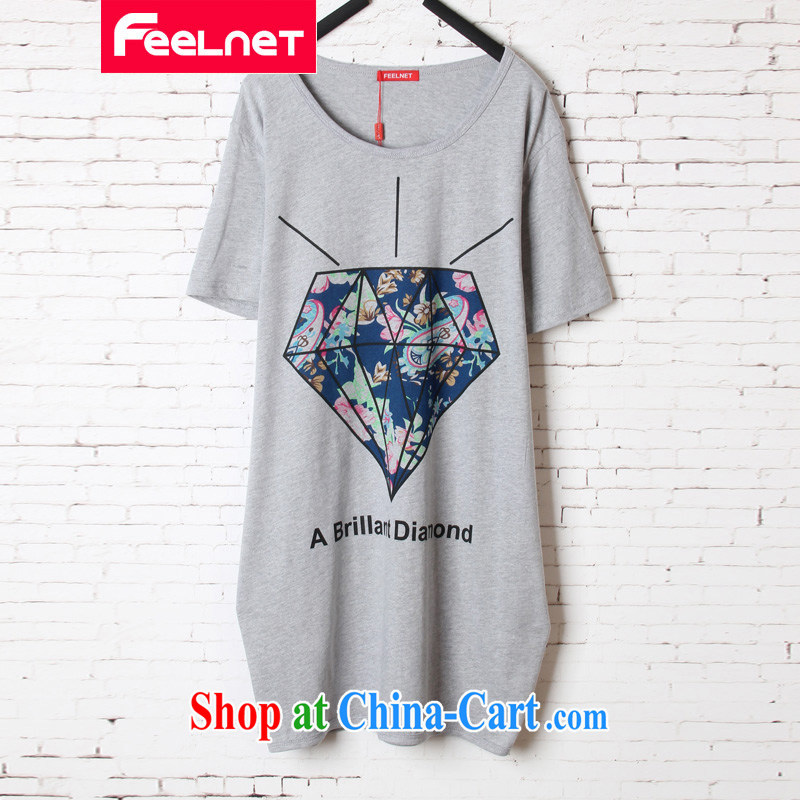 The feelnet Code women 2015 summer new thick mm loose video thin stretch long, short-sleeved shirt T 1504 gray 44 code_recommendations 45 - 80 kg