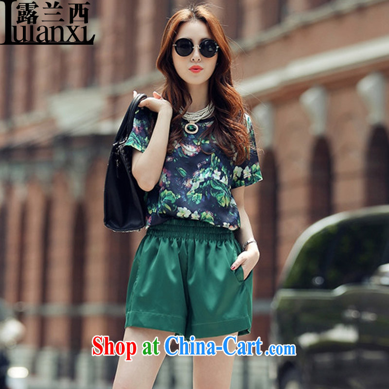 Terrace, Western Europe and the United States, the female loose stamp short-sleeved T-shirt, spring and summer, solid shirts Z_8092 green Kit 3 XL 150 - 165 Jack left and right