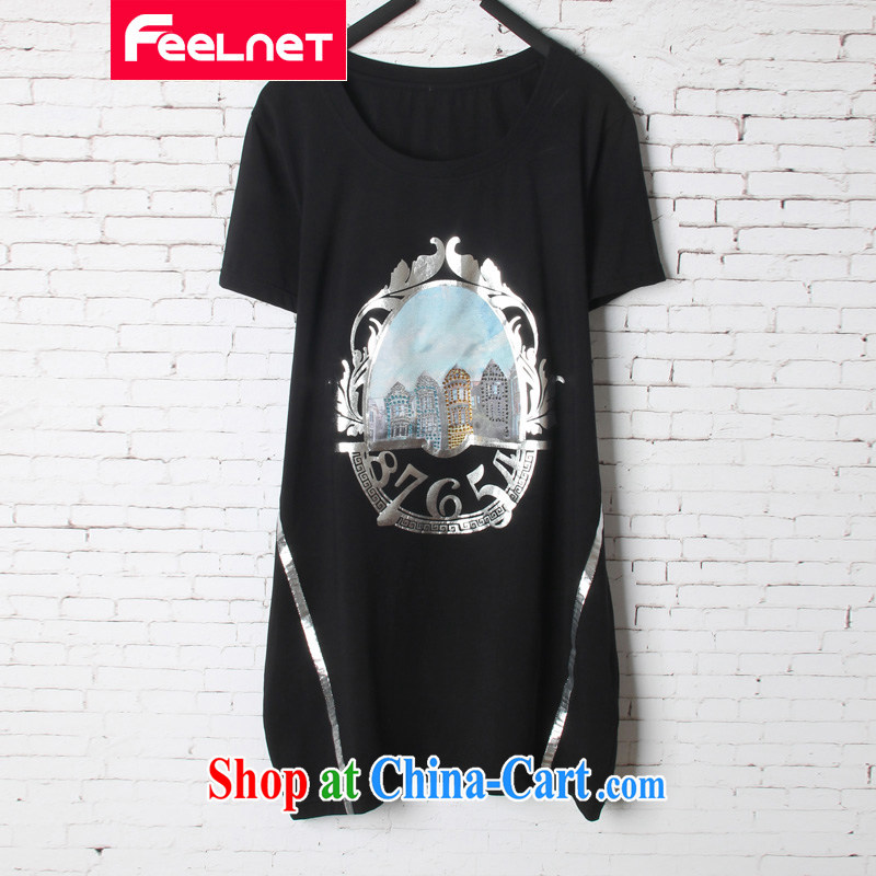 Feelnet XL female summer new, thick mm video thin, long, short-sleeved shirt T 1563 black 2 XL code_Recommendation 70 - 90 kg
