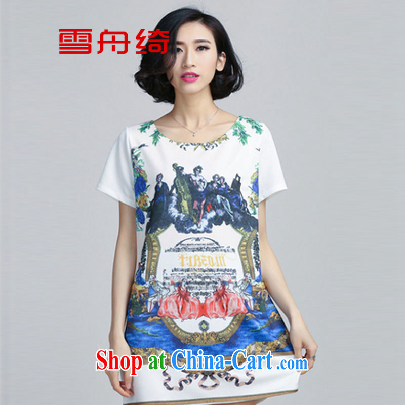 snow storm, the 2015 code female summer graphics thin retro the FAT and FAT sister A Field skirt dresses A 8806 white XXXXXL