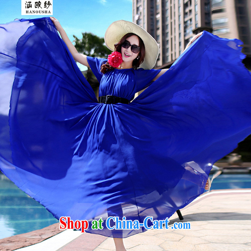 COVERED BY THE 2015 summer new, larger female loose long, short-sleeved snow woven dresses bohemian beach resort style dress royal blue XL