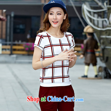 Love waving 2015 short-sleeve beauty and Leisure package girls summer Summer Campaign with the Code and stylish sports female wine red XXXL