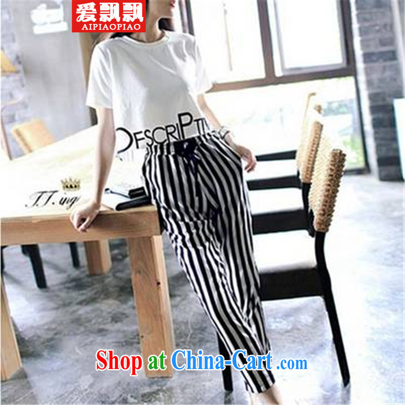 Love waving 2015 letter stamp short shirt stripes, Trouser Press Style Kit female picture color S