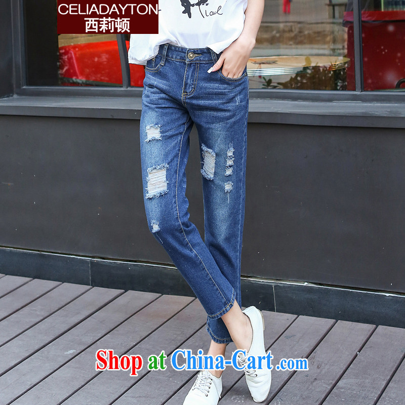 Ms. Cecilia Korean version thin 9 jeans 2015 summer new thick mm larger graphics thin straight and relaxed hole 9 stretch jeans fat sister pants dark blue 34
