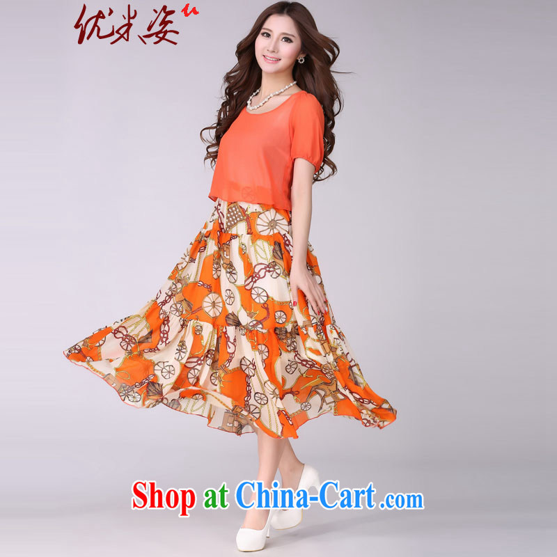 Optimize m Beauty summer 2015 installation of new packages, mail delivery new summer the code mm thick bohemian knocked color long skirt stylish stamp snow woven stitching long skirt orange 4 XL