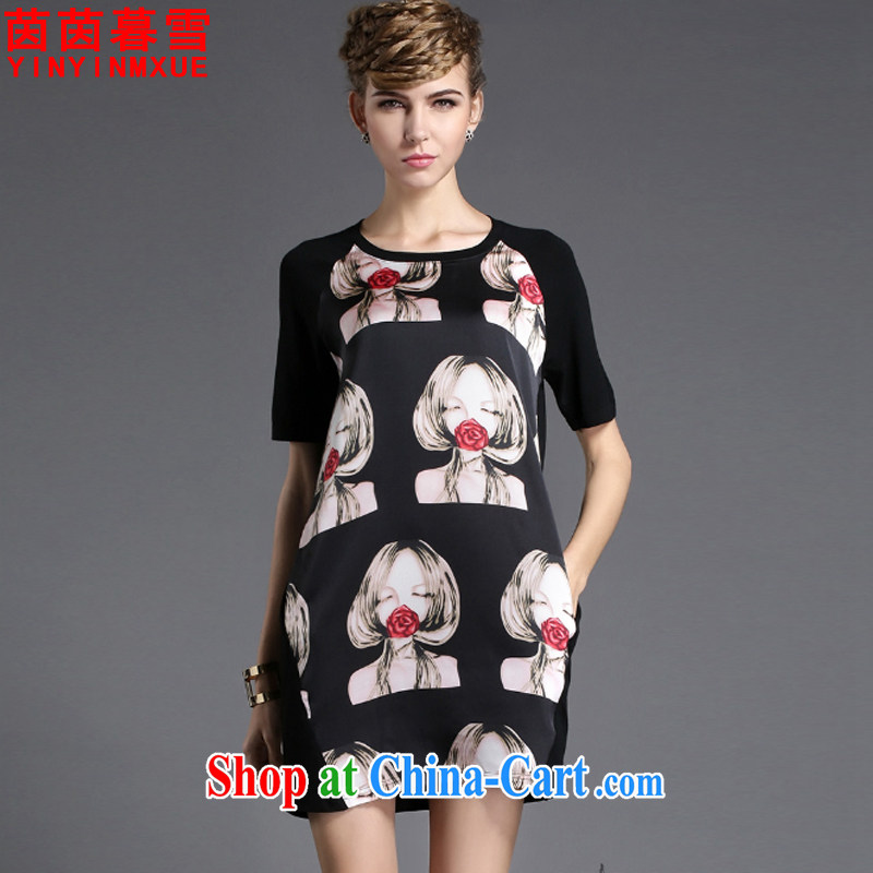 Athena Chu Yan and snow 2015 summer new thick mm maximum code female long-sleeved loose dress black XL