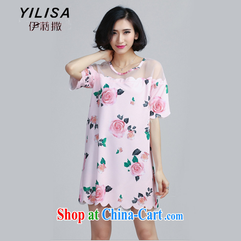 YILISA larger female summer 200 Jack Web yarn stitching the root dress mm thick leisure stamp loose video thin dresses Y 6058 map color XXXL