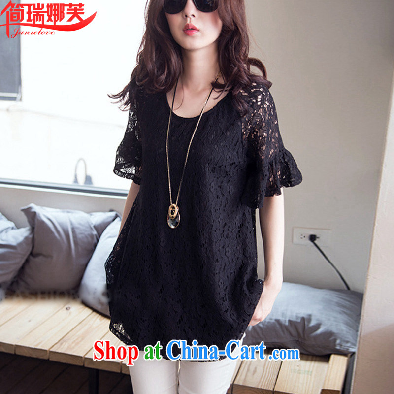 In short, the possible summer 2015 new mm thick and fat XL loose video thin, long, short sleeved lace shirt female J 795 black 4XL