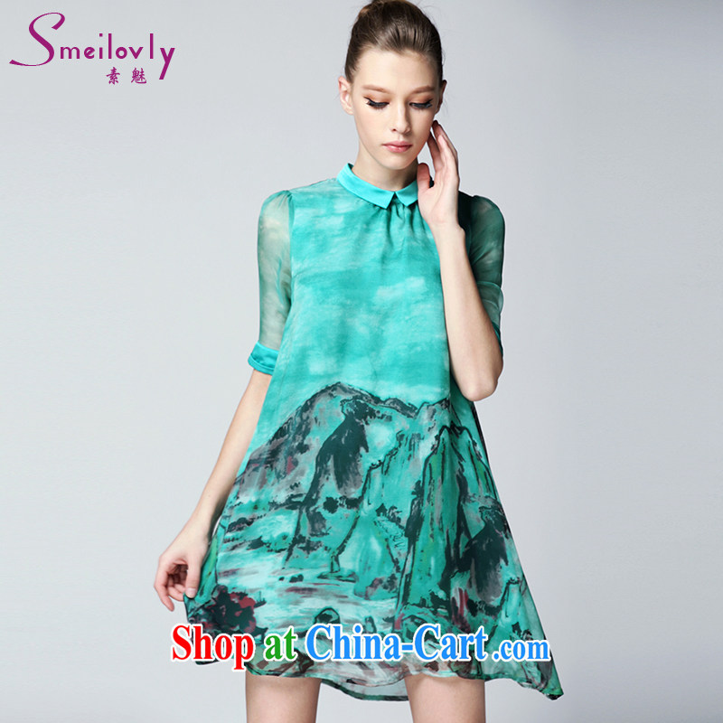Director of summer 2015 in Europe and America with new stylish stamp on the younger sister, female high-end emulation Silk Dresses video thin, 2115 A suit large green code 2 140 XL about Jack