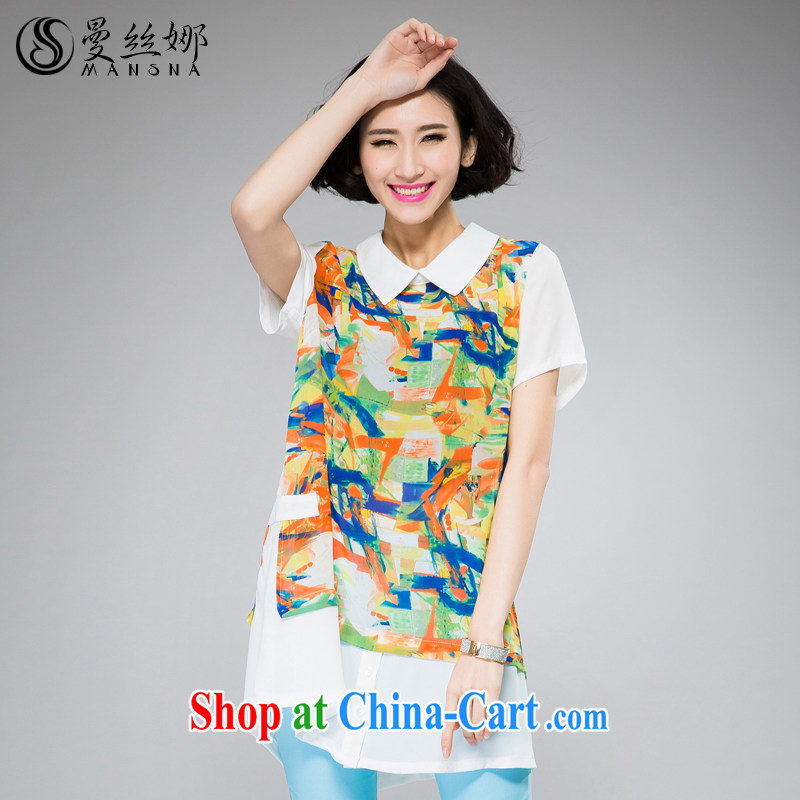 Cayman population of larger female thick MM summer new 2015 Korean version, long stamp graphics thin short-sleeved snow woven shirts orange 4 XL