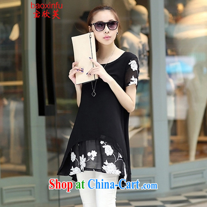 Baoxinfu 2015 summer short-sleeved clothes snow woven shirts thick MM larger female snow-woven dresses 6116 black XXXXL _160 - 180 _ jack