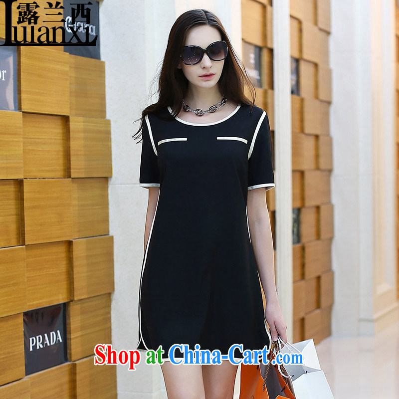 Private terrace, Western Europe and the United States, the girl with the long spell pack edge short-sleeved dresses 2015 new spring and summer with the code Solid skirt C children_1926 Black Edge skirt XXL 130 - 145 about Jack